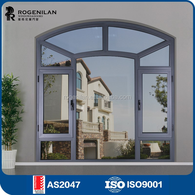 ROGENILAN 45 series cheap aluminum fire rated arch windows