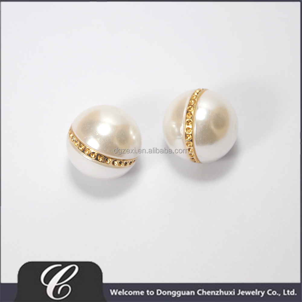 Ivory White ABS Pearl Beads with Golden Line for Earring Making