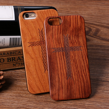 Retro Mobile Phone Accessories,real solid wooden cross phone case for Iphone7 plastic raw material