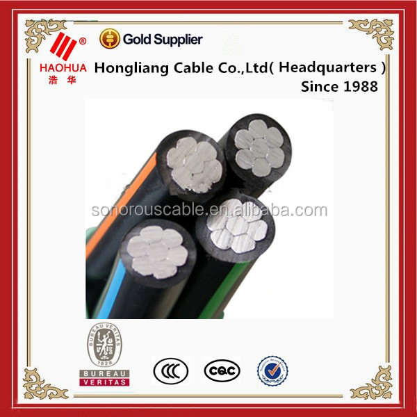 0.6/1kv quadruplex serice drop ACSR conductor aerial bundled cable ABC electrical power cable