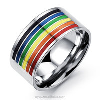 2016 Fashion Jewelry Colorful Rainbow Band Ring for Men and Women