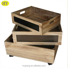 High quality food fruit storage wood tray with wheels and chalkboard