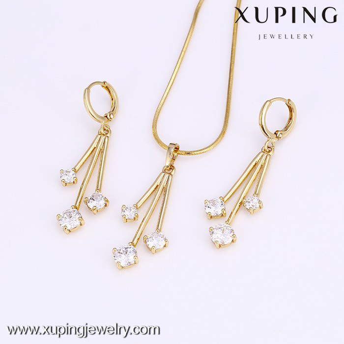 61713-simple designs diamond jewelry,14k gold crystal wedding drop jewelry sets