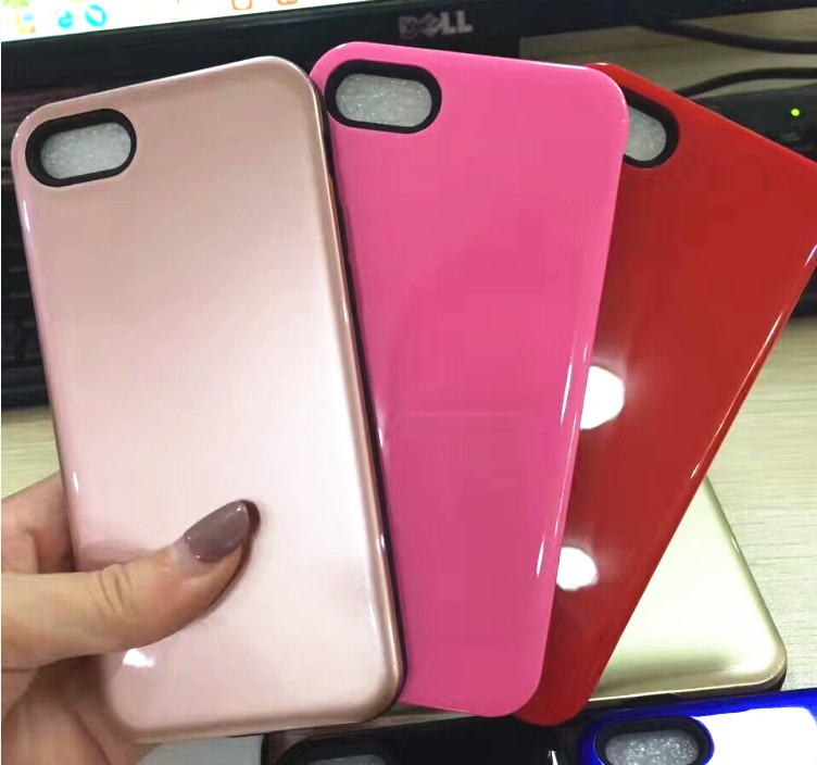 phone accessories mobile Brightly TPU PC 2 in 1 back cover case for iPhone 7 cell phone case for iPhone 7 Plus