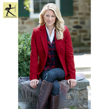 OEM fashion high quality yarn dyed casual formal blazer red pure color lady women casual wool blazer