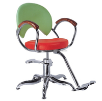 Classic Hydraulic Green and Red Hair Cutting Chair(B635)