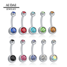 stainless steel Crystal belly button boys jewelry