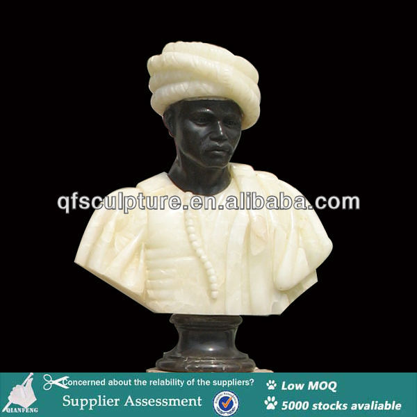 Marble Black Male Statue Bust on Pedestal