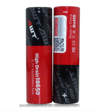 High drain AWT 18650 battery 2600mAh 50A 3.7v awt 18650 battery for lost vape therion dna 75 wholesale vaporizer pen