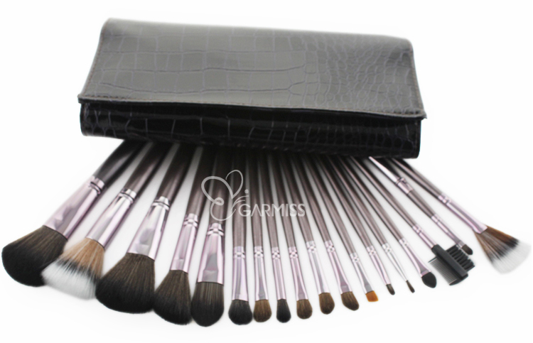 18pcs makeup brush set with coffee protable case