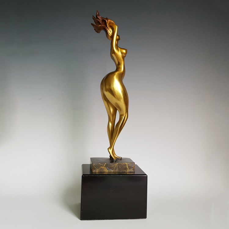 Art deco statues craft brass nude statue nude woman bronze sculpture