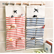 6/8 Grids Multilayer Storage Bag Linen Fabric Small Items Organizer Wall Hanging For Room Door Closet