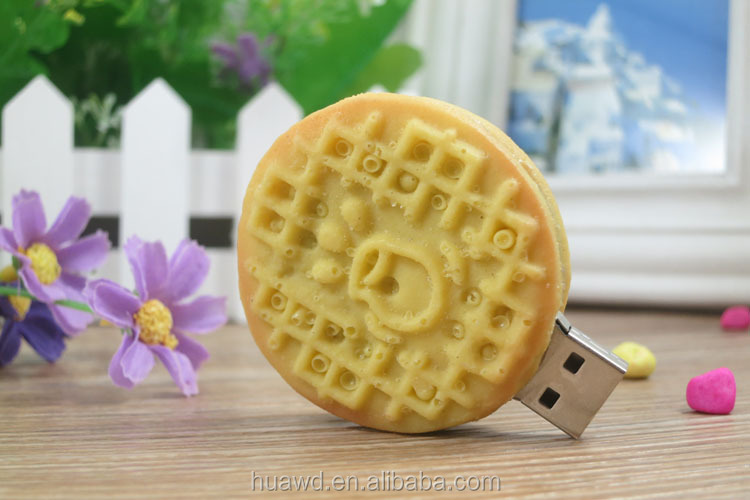 promotion biscuits food shape rubber usb flash drive disk key