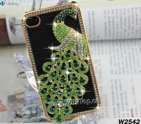 Black Leather Skin Green Phoenix Design Golden Diamond Frame Luxury Case Cover for iPhone 4 4S