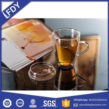 wholesale high quality goblet shape double wall glass cup