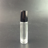 wholesale 10ml Essential Oil Roll on glass Bottles with Stainless Steel Roller with Black cap