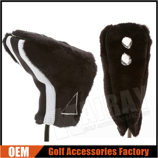 Unique Stretch Fur Golf Blade Putter Head Cover With Plastic Diamonds
