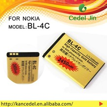 spice mobile battery BL-4C for nokia 6102/6103/6125/6131/6136/6170/6260/6300 3.7v gold battery