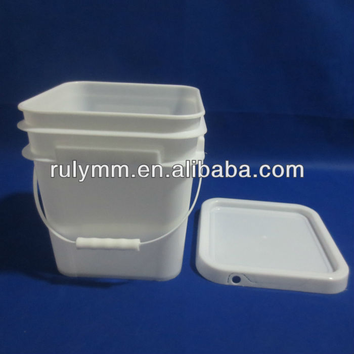 Food grade virgin square plastic bucket 10L whith cover