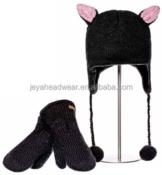 Dark dog knitted hat pom pom animal knitted beanie hat double-deck knitted hat with ear flaps