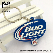 personalized OEM cheap soft pvc rubber double side keychains with logo