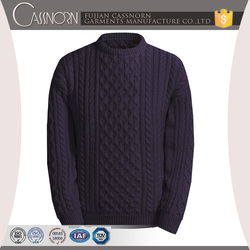 popular drop shoulder winter cable knit pure wool sweaters for men