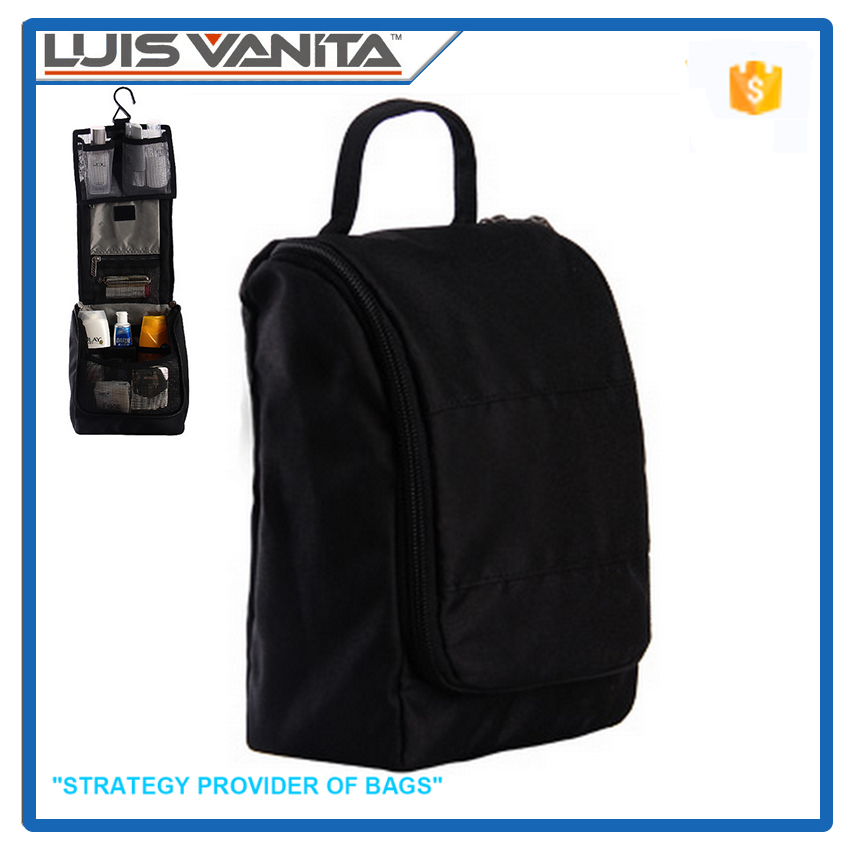 Durable Black 600D Polyester Hanging Toiletry Bag