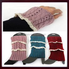 New Womens Boot Cuffs Lace Trim with Buttons Stretch Leg Warmer Socks, Women's Cable Knit Boot Cuffs, Knit Boot Toppers