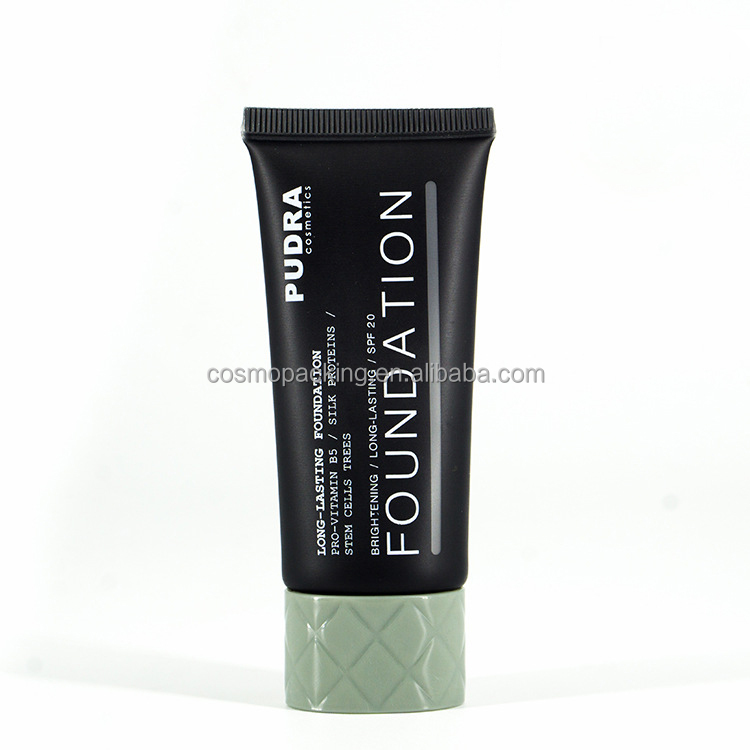 High quality empty 40ml Black Oval Laminated Plastic Tube for BB Cream