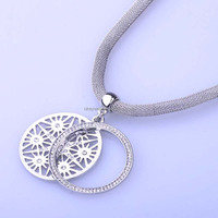 N466 Free Shipping 2016 New women rhinestone jewellery Big crystal double circle hollow flower pendant Silver magnetic necklaces