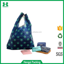 Wholesale Cheap Nice Designs Full Printing 190T Polyester Foldable Shopping Bag and T Shirt Nylon Tote Bag