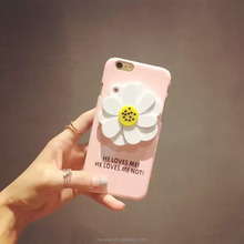 Flower Skin Case With Mirror for Iphone5 6 6s plus Rubberized Plastic Hard Case