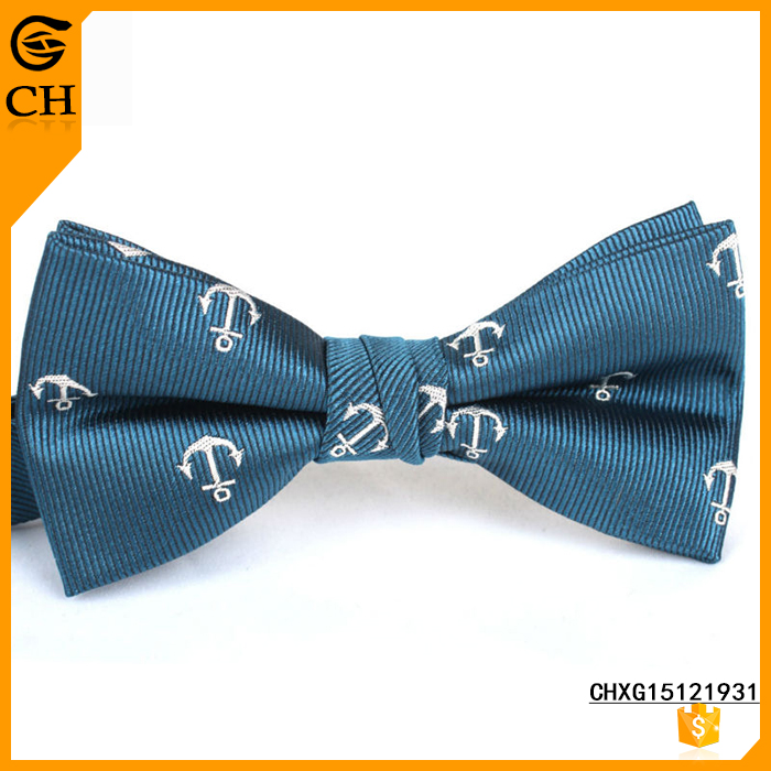 New Woven Fabric Anchor Polyester Bow Tie For Man