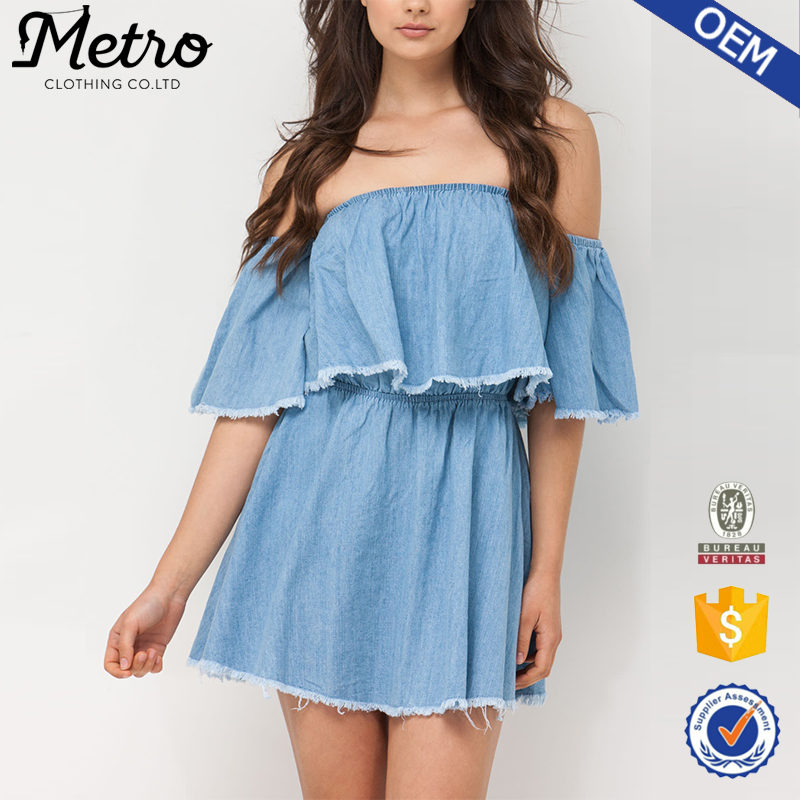 Wholesale Off the Shoulder Sexy Frayed Cotton Chambray Minidress