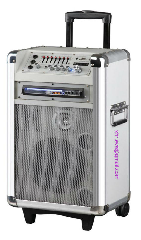 Portable Trolley Battery Speaker Support Ipod Iphone USB SD 7EQ