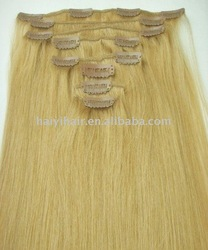 100% remy human hair clip hair extensions double weft