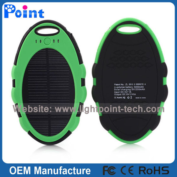 High quality easy carry 5000mah solar power bank with key chain