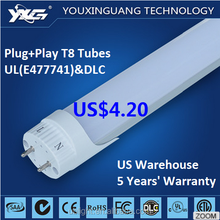 5 year warranty , UL DLC certified 600mm 10W 1200lm 18w 1200mm 2160lm LED T8 tubes for North America