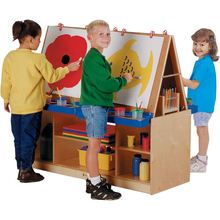 Daycare furniture wholesale kids erasable magnetic wooden drawing white board and blackboard