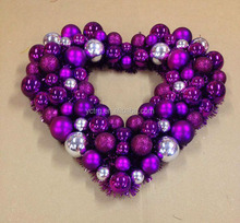 Plastic heart shape decorative wreath with Silver Tinsel