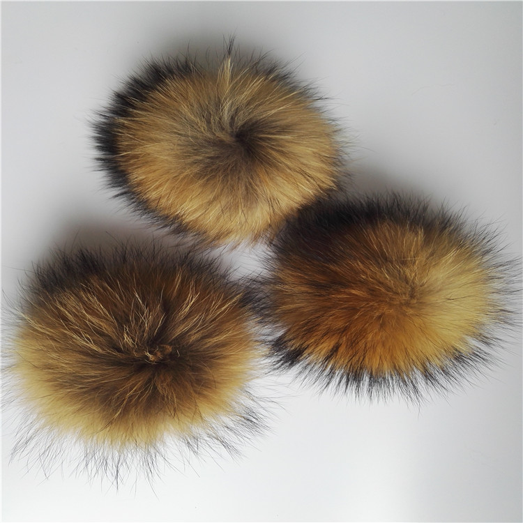 12cm real raccoon fur pompom keychain/add faux fur pompom with snap