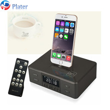 Black Grey D9 Smart NFC Bluetooth Speaker with FM Radio Dual Alarm Clock for Phone android