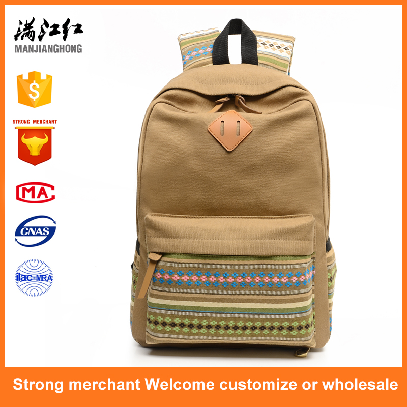 2017 new fashion retro girls canvas school backpack