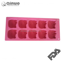 Factory directly custom made Hello kitty shape 10 cavities FDA silicone baking moulds