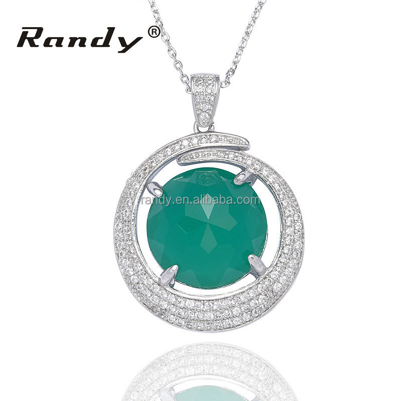 Solitaire Big Round Green Glass Stone Pendant Necklace Jewellery