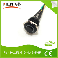 16mm short body 4pin momentary 1no 12v green led metal push button switch with cable