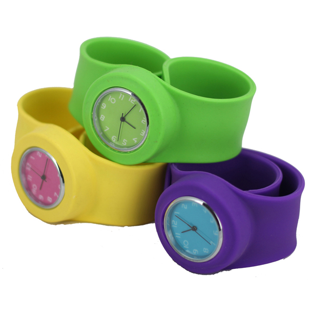 custom high quality silicone snap slap bands watch
