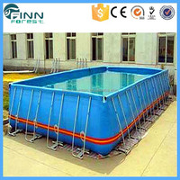 Durable Above Ground Rectangular Plastic Metal Frame Freestanding Swimming Pool