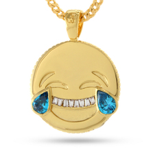 Funny 14K Gold Smile And Cry Dual Emoji Pendant Necklace