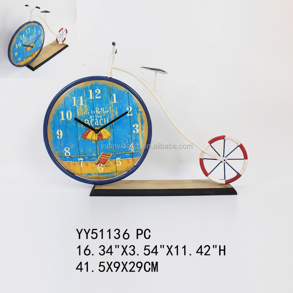 Factory cheap bicycle metal table clock, wholesale cheap clock